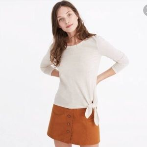 New Madewell side tie top in bright ivory sz med